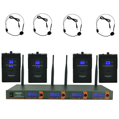 Freeboss FB-V04 4 Headset Vhf Wireless Microphone by Freeboss
