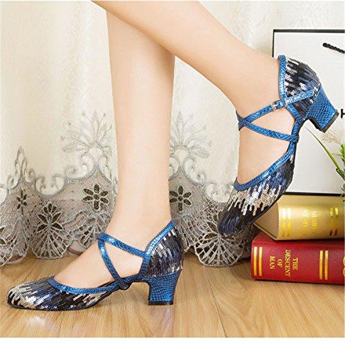 LEIT YFF Gift Women Dance Shoes Ballroom Latin Dance Tango Dancing Shoes 6cm,Blue,39