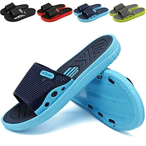 welltree Men's Slide Slipper Shower/Pool/Beach/Garden Quick Drying Sandal 9 D(M) US Men /43 Blue