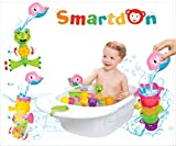 SmartDon Animal Bath Toy Gift Set for Toddlers – Interactive Waterfall Seahorse Gears, Frog Spray Squirter, Pouring Scoop, Stacking Cup Water Toys for Babies