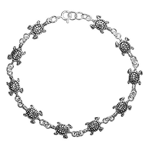 AeraVida Sea Journey Turtle Link .925 Sterling Silver Bracelet