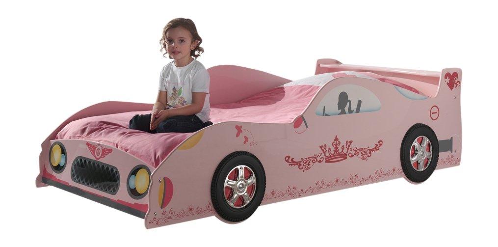 VIPACK LIZSC90 Autobett Lizzy, circa 210 x 60 x 95 cm, Liegefläche 90 x 200 cm, lackiert aufgedruckte Optik, rosa