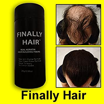 Hair Building Fibers Dark Brown Hair Loss Concealer Fiber 28 Gram .99oz Refillable Bottle by Finally Hair (use our Dark Chocolate Brown for darker) Finally Hair Corporation