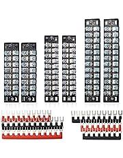 FIXITOK 6 Sets Terminal Blocks, 8/10/12 Positions 600V 15A Dual Row Screw Terminal Strip with 400V 15A Pre-Insulated Terminal Barrier Strip (Black & Red)