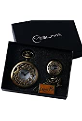 YISUYA Alice in Wonderland Drink Me Small Hollow Rabbit Bronze Steampunk Pocket Watch Clock with Chain