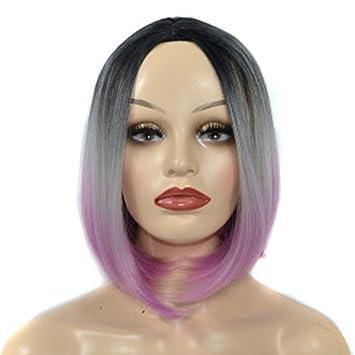wig Peluca de Pelo Corto y Recto Conjunto de Cabello Color Femenino Gradiente de Tres Colores