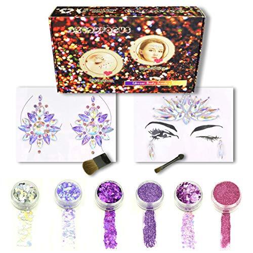 - Unicorn Tattoo Kit Holographic Glitter Rhinestone Face Jewels Stickers Crystal Body Jewelry Set Festival Rave (GS-04)