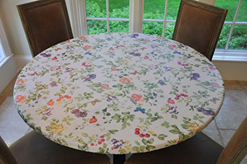 """UPC 602401761537, Elastic Edged Flannel Backed Vinyl Fitted Table Cover FRUIT OF THE VINE Pattern - Small Round - Fits tables up to 44"""" round"""