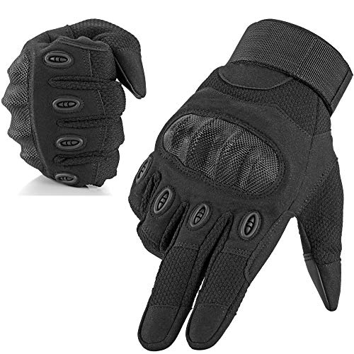 WTACTFUL Tactical Hard Knuckle Full Finger Gloves Touchscreen Compatible for Outdoor Protection Military Army Airsoft Paintball Hunting Motorcycle Cycling Motorbike Driving Hiking Black Size Large