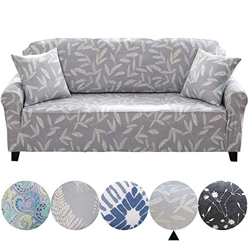 Dotteen Super Soft Stretch Sofa Cover Plush Couch Cover Sofa Slipcover for 3 Seater Sofa, Furniture Protector with Two Match Pillow Cases (Bamboo, Gray, Sofa) ()