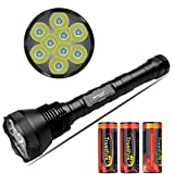 NKTECH Super Bright NK-9T6 9x T6 LED 11000LM 5 Modes Flashlight Torch With Extended Tube Fit Camping Hunting + 3X TrustFire 26650 5000mAh Battery PCB Protected Board