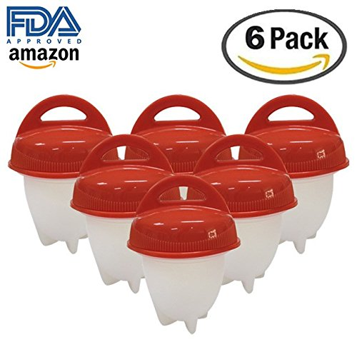 Renba Egg Cooker - Hard Boiled Eggs without the Shell, Egg Cooking Tools Hard Boiled Egg Cooker without Shell,6 Egg Cups (Red) (Red Egg Cup)