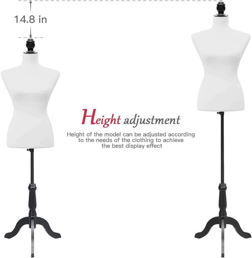 Anshunyin Female Mannequin Dress Form Female Model Display Adjustable Height Womens Fashion Mannequin Stand Torso Dressmaker Stand Torso Body Display Stand White