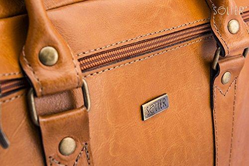 Solier para hombre piel auténtica bolsa de hombro portátil Macbook Premium kilbridge SL03 marrón 42 x 31 x 10 cm marrón claro