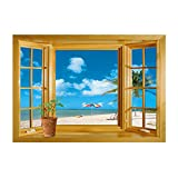 coffee shop window decal - Winhappyhome Summer Beach Scene Fake Window Wall Stickers for Bedroom Living Room Coffee Shop Background Removable Decor Art Decals