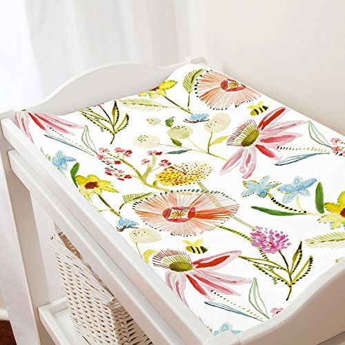 - Carousel Designs Watercolor Springtime Changing Pad Cover - Organic 100% Cotton Change Pad Cover - Made in The USA