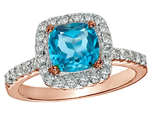 Jewel Zone US Cyber Monday Deal 7.0mm Cushion Cut Swiss Blue Topaz and White Sapphire Frame Ring in Rose Gold Over Sterling Silver (Sapphire Ring Frame White)