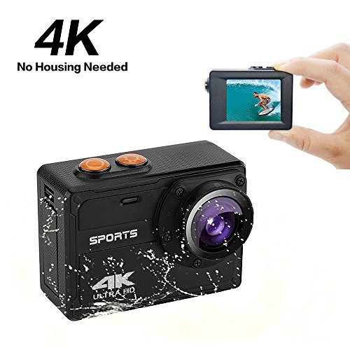 Action Camera 4K WiFi Ultra HD Waterproof Sports Camera 150° Degree Wide Angle Lens 2'' LCD Screen Underwater Cam with Accessories Kits(No Housing Needed) by Continental