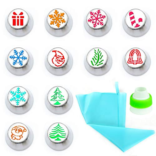 Aozer Russian Piping Tips Set Christmas Design - 14pcs Cake Cupcake Decorating Supplies Kit - 12 Icing Christmas Nozzles 1 Coupler and 1 Pastry Bags