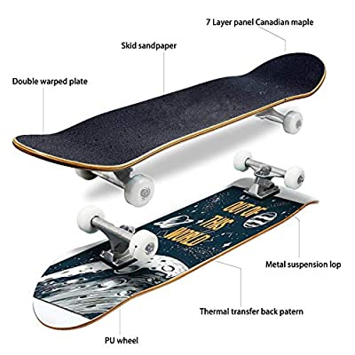 Classic Concave Skateboard Out of This World Slogan Text with Space View Vector Illustration for Longboard Maple Deck Extreme Sports and Outdoors Double Kick Trick for Beginners and Professionals : Sports & Outdoors