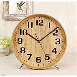 T&HOME Classic Handmade Silent Desk and Table Clock, 8-Inch Quiet Wood Desk Clock Battery Operated for Office, Home, Bedroom, Living Room, Kitchen, Simple Arabic Numerals Natural