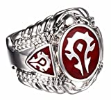 New-Horizons-Production-World-of-Warcraft-Horde-RedSilver-Stainless-Steel-BAND-RING-Unisex-Sizes