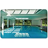 Memory Foam Bath Mat,House Decor,Indoor Swimming Pool of a Modern House with Spa Window Residential InteriorPlush Wanderlust Bathroom Decor Mat Rug Carpet with Anti-Slip Backing,