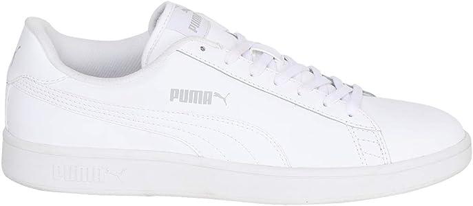 Puma Smash V2 Leather White Black, Baskets de Cross Mixte Adulte