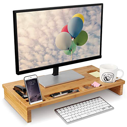 51c8wJ62WVL. SS500 Material de bambú natural - Está fabricado de bambú natural, es sólido y duradero, fácil de limpiar. Gracias al material de bambú, dispone de la prolongada vida útil del producto, la buena estabilidad y calidad. La altura es 8.5 cm, es perfecto para los ojos para ver la pantalla Almacenamiento perfecto - En la bandeja hay 7 diferentes compartimientos para guardar las pequeñas cosas como teléfono, taza, grapadora, bolígrafos, etc.