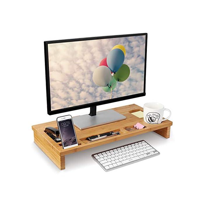 51c8wJ62WVL Material de bambú natural - Está fabricado de bambú natural, es sólido y duradero, fácil de limpiar. Gracias al material de bambú, dispone de la prolongada vida útil del producto, la buena estabilidad y calidad. La altura es 8.5 cm, es perfecto para los ojos para ver la pantalla Almacenamiento perfecto - En la bandeja hay 7 diferentes compartimientos para guardar las pequeñas cosas como teléfono, taza, grapadora, bolígrafos, etc.