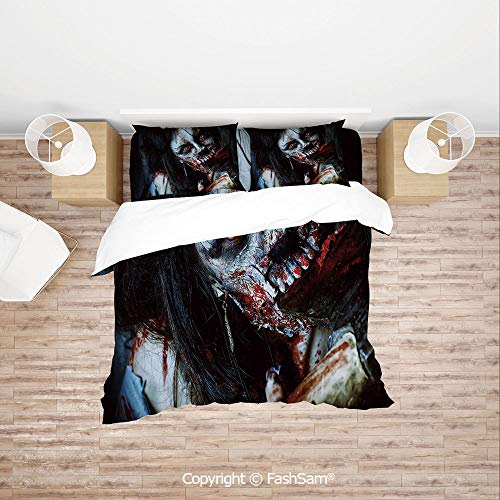 FashSam Duvet Cover 4 Pcs Comforter Cover Set Scary Dead Woman with Bloody Axe Evil Fantasy Gothic Mystery Halloween Picture for Boys Grils Kids(King) ()