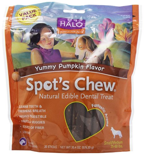 Halo, Purely for Pets Spot's Chew Natural Edible Dental Treat for Small/Medium Dogs, Yummy Pumpkin, 20.4-Ounce