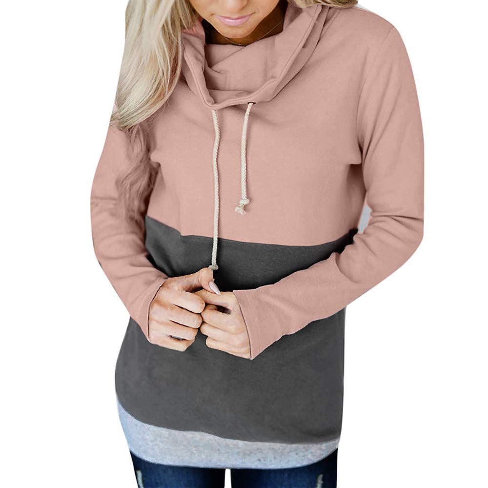 Colorblock Tie Sweatshirt, Clearance Duseedik Fashion Women Casual Color Block Long Sleeve Jumper Pullover Blouse