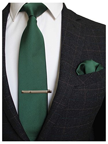 JEMYGINS Green Formal Necktie and Pocket Square, Hankerchief and Tie Bar Clip Sets for (Clip Green Tie Clip)