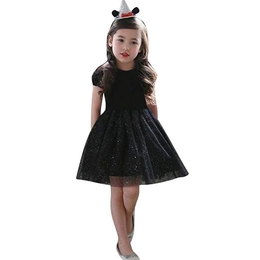 832d3036c10e Sagton® Baby Dresses Children Kids Tulle Tutu Princess Dresss Jersey Dress  Outfit (Black,