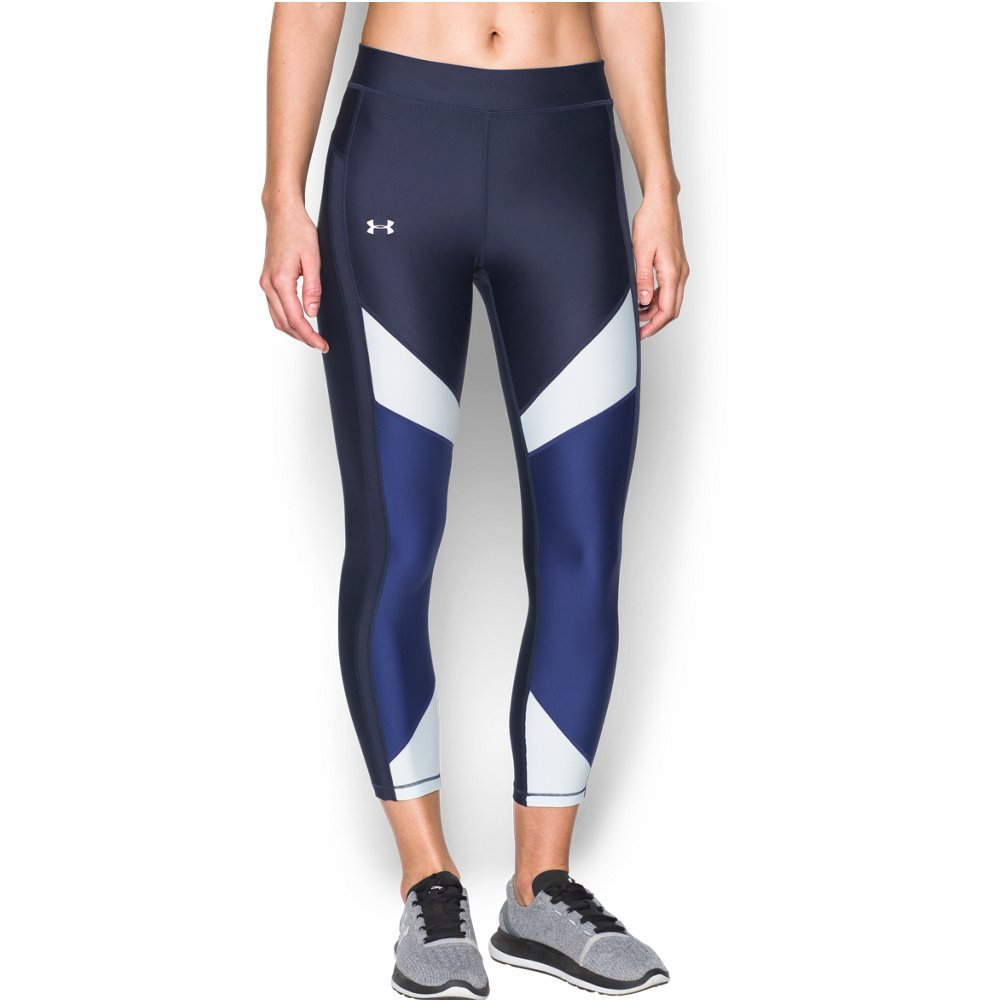 Under Armour Women's HeatGear Color Blocked Ankle Crop, Midnight Navy /Metallic Silver, X-Small