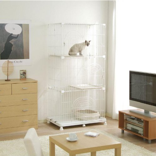 Wire Tower Cage for Small Animal / Cat Cage – WHITE – Receive 2 FREE Hanging Bowls with Purchase!!, My Pet Supplies