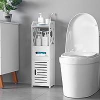 SSLine Bathroom Free Standing Cabinet with Door and Shelf Narrow 3-Tier Corner Bath Rack Chest Toilet Paper Holder Orgainzer - White