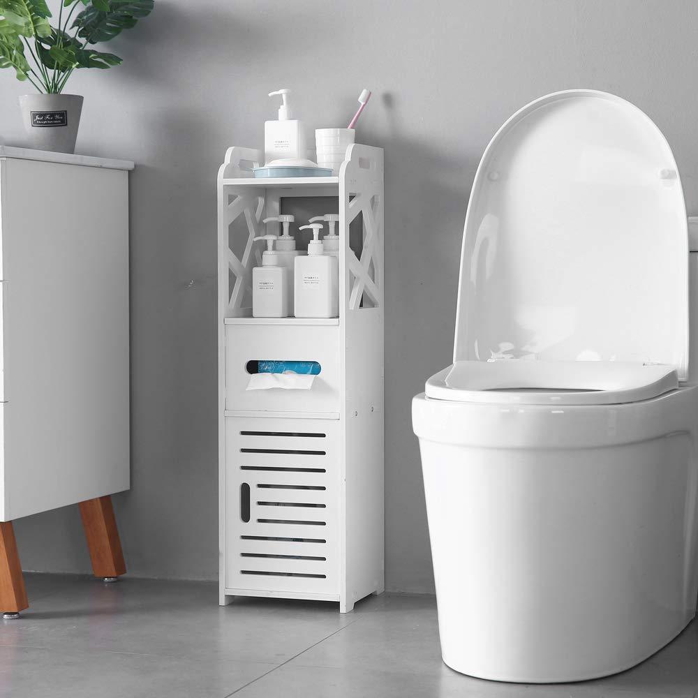 SSLine Bathroom Free Standing Cabinet with Door and Shelf Narrow 3-Tier Corner Bath Rack Chest Toilet Paper Holder Orgainzer - White by SSLine