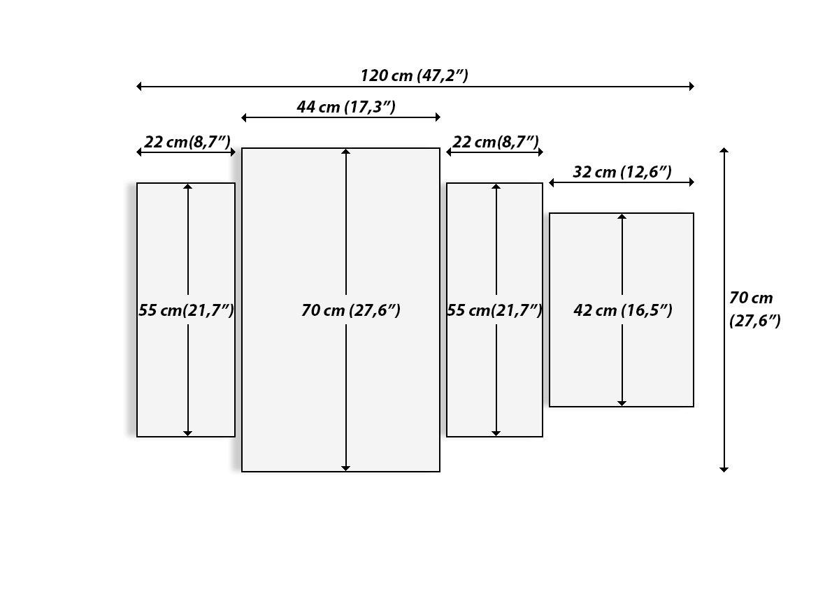 Pronto da Appendere Elementi Multipli GDL120x70-3583 Numero dellimmagine 3583 Altezza: 70cm Quadro in Vetro Quadro su Vetro Larghezza: 120cm Quattro 4 Tele Arte Digitale Moderno