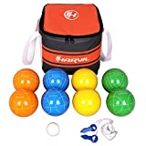 Harvil 90mm Bocce Ball Set. Includes 8 Poly-Resin Balls, 1 Pallino, 1 Nylon Zip-Up Carrying Case and Measuring Rope