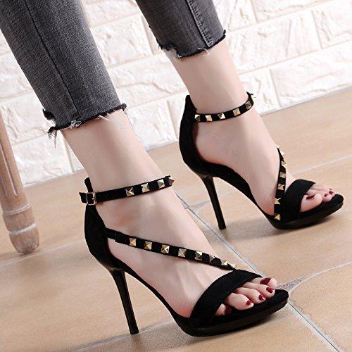 de Tacón de de con Fiesta y Verano YMFIE A Fino Sandalias Punta Zapatos para Alto Tachuelas Mujer Negro Abierta con tacón 1dU6wqEwf