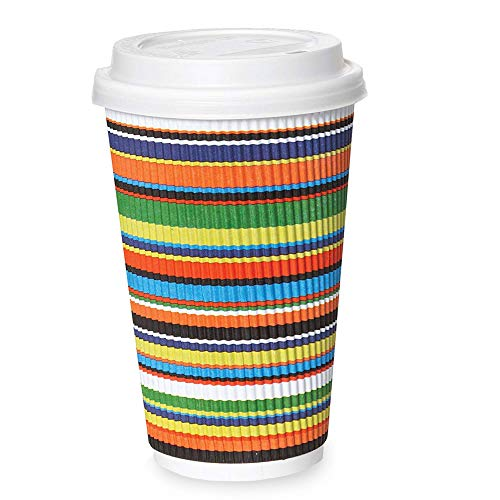 50 Pack - 16 oz Disposable Coffee Cups with Lids - To Go Hot Coffee Cup, Insulated & Recyclable Striped Multicolor Ripple Paper Travel Cups