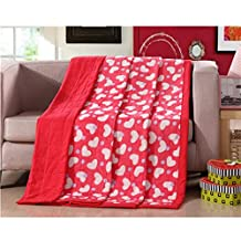 KAKA(TM) Home Comfortable Microfiber Red Love Heart-Shape Pattern Comforter for Summer Air-Conditioning Quilt 1PS-(150-200cm)