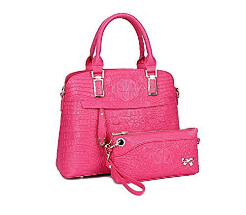 2016 Latest And Fashionable Girl Bag Tote Bag Pu Bag Satchels 2 Pcs Set (pink)