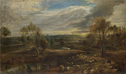 Shepherd Topiary (Oil Painting 'Peter Paul Rubens A Landscape With A Shepherd And His Flock', 8 x 14 inch / 20 x 35 cm , on High Definition HD canvas prints is for Gifts And Garage, Kitchen And Study Room Decoration)
