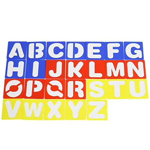 Plastic Alphabet Stencils Letter Stencil Set for Painting Learning (26 PCS)