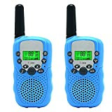 Kids Walkie Talkie Two Ways Radio Toy Walkie Talkie for Kids 2 Miles Range 3 Channels Built in Flash Light FRS GMRS Handheld Mini Walkie Talkie for Outdoor Adventures Camping Hiking Set of 2