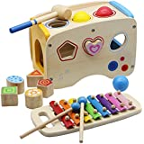 FORUP Wooden Shape Sorter Bus with Slide Out Xylophone, Wooden Musical Pounding Toy, Baby Color Recognition and Geometry Learning, Multi-Functional and Bright Colors