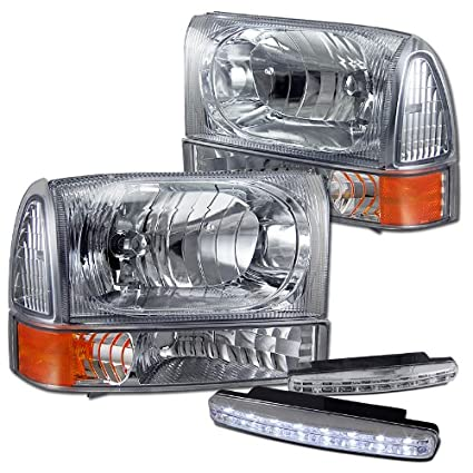 amazon com: 2000-2004 ford excursion superduty headlights + parking signal  lamps + 8 led fog bumper light: automotive